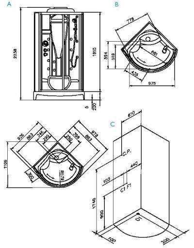 Размер душевой кабины угловой
