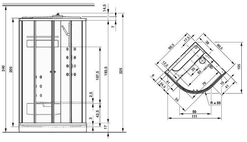 Размеры душевой кабинки угловой