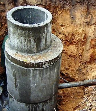 Септик из бетонных колец схема 2 колодца