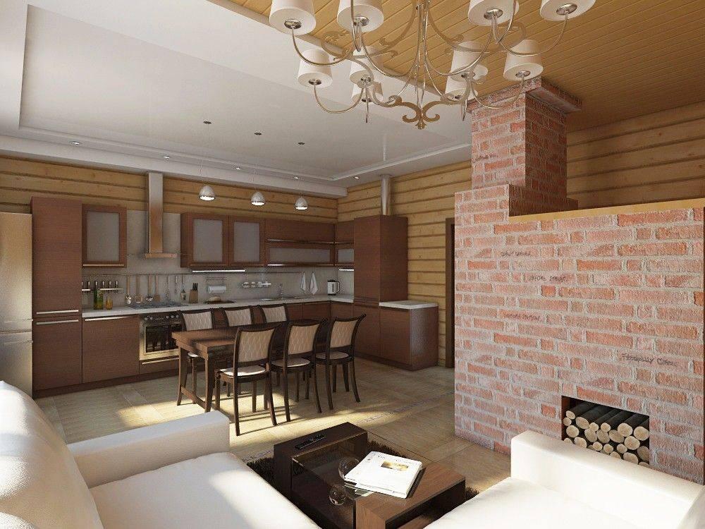 Проект дома с печью и кухней-студией