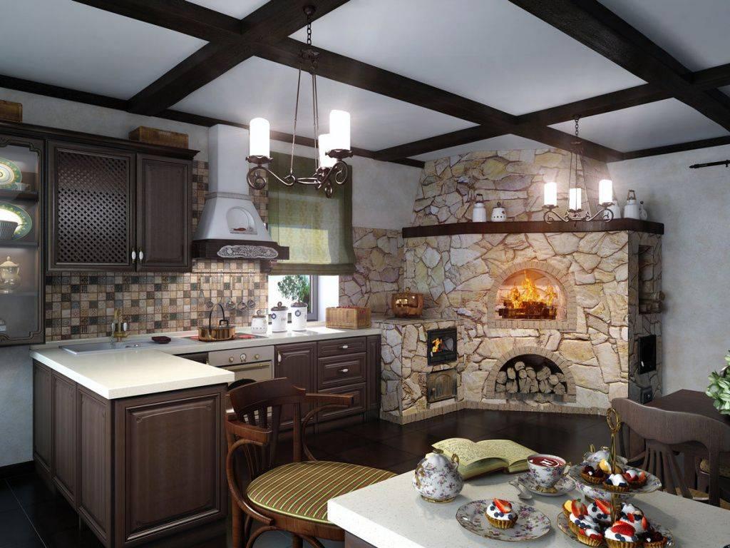 Дизайн-проект кухни-гостиной с печью