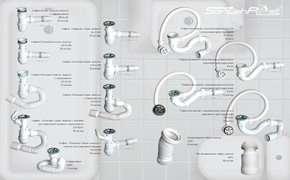 Сифон для раковины с переливом на кухню