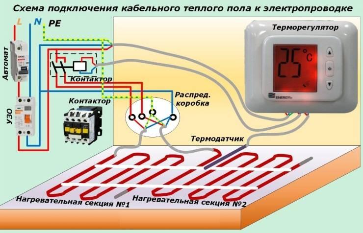 Подключение тёплого пола к терморегулятору