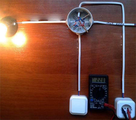 Подключение светильника через выключатель