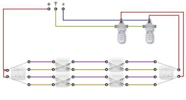 Проходной выключатель с трех мест
